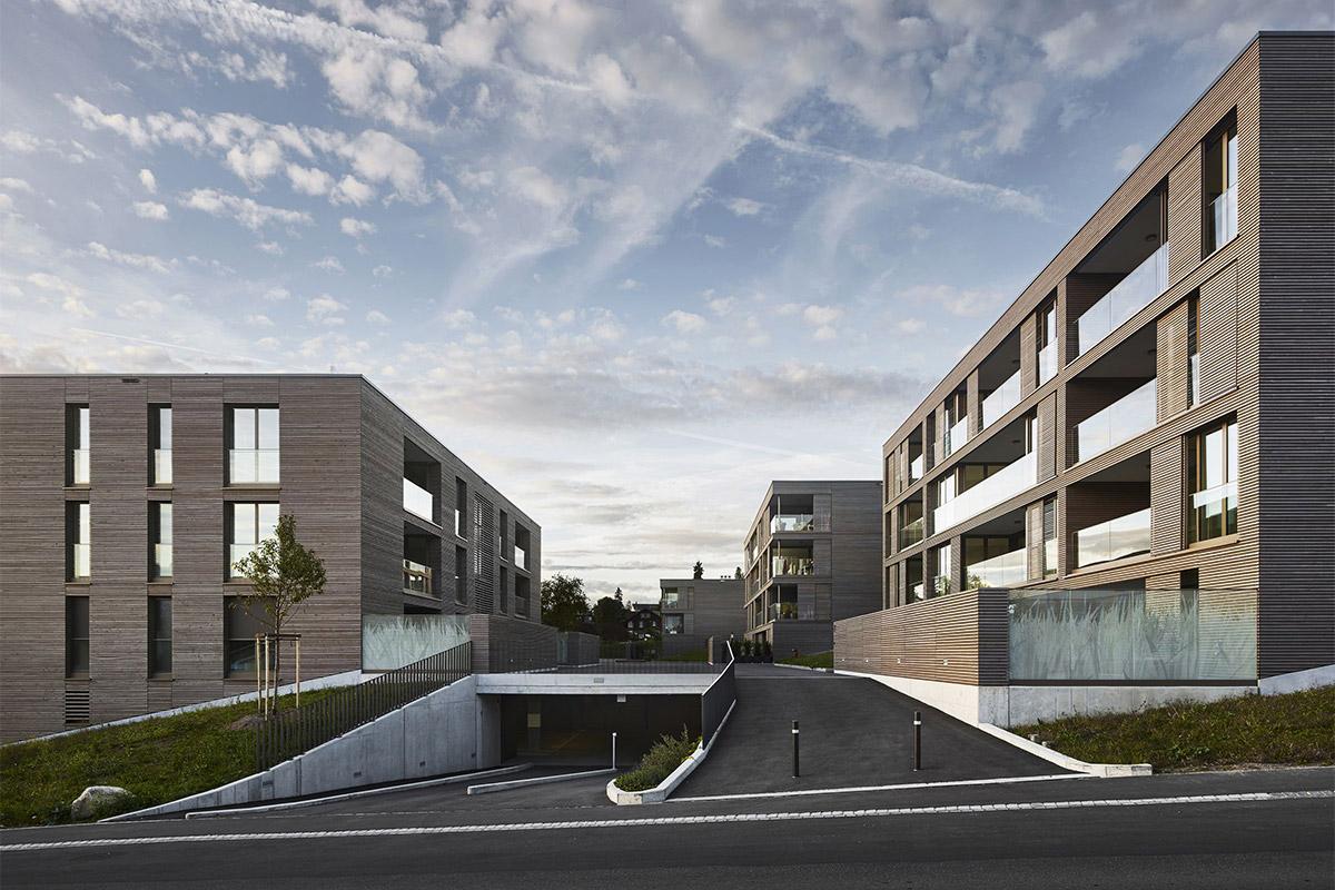 CREA-GLASS Siebdruck auf - Wohnüberbauung Sandacher Münsingen